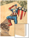 Captain America Corps No.2 Cover: Captain America Standing in Salute Wood Print by Phil Jimenez