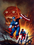 Captain America No.8 Cover: Captain America, Bucky and Red Skull Swimming Plastic Sign by Joe Jusko