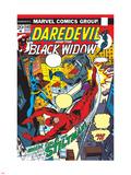 Daredevil No.102 Cover: Stiltman, Black Widow and Daredevil Plastic Sign by Syd Shores