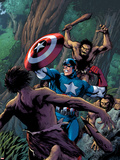 Marvel Adventures Super Heroes No.15 Cover: Captain America Fighting with his Shield Plastic Sign by Barry Kitson