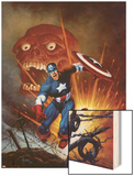Captain America No.8 Cover: Captain America, Bucky and Red Skull Swimming Wood Print by Joe Jusko
