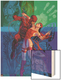 Elektra No.35 Cover: Daredevil and Elektra Fighting and Shooting Wood Print by Brian Stelfreeze