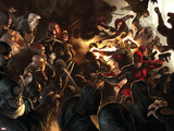 Daredevil No.100 Cover: Daredevil, Elektra, Luke Cage, Iron Fist and Spider-Man Wall Decal