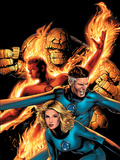 Marvel Knights 4 No.14 Cover: Mr. Fantastic, Invisible Woman, Human Torch, Thing and Fantastic Four Prints by Greg Land