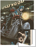 Captain America: Forever Allies No.2: Captain America Riding Wood Print by Marco Santucci