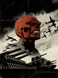 Red Skull No.3 Cover: Redskull Portrait Amidst Tanks and Planes Plastic Sign by David Aja
