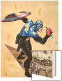 Captain America Corps No.1 Cover: Captain America with Shield and Dagger Wood Print by Phil Jimenez