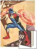 Captain America Corps No.5 Cover: Commander A Croching and Posing Wood Print by Phil Jimenez