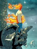 Human Torch No.9 Cover: Human Torch Fighting Wall Decal by Skottie Young