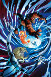Fantastic Four 11 Cover: Human Torch, Thing, Mr. Fantastic, Invisible Woman Plastic Sign by Mark Bagley