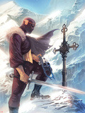 Captain America No.608 Cover: Baron Zemo Standing with a Sword in the Snow Plastic Sign by Marko Djurdjevic