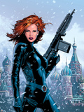 Black Widow No.1 Cover: Black Widow Fighting Plastic Sign by Greg Land