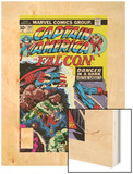 Captain America And The Falcon No.202 Cover: Captain America and Falcon Fighting and Flying Wood Print by Jack Kirby