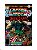 Captain America And The Falcon No.204 Cover: Captain America, Falcon and Agron Fighting Plastic Sign by Jack Kirby