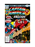 Captain America And The Falcon No.201 Cover: Captain America and Falcon Crouching Wall Decal by Jack Kirby
