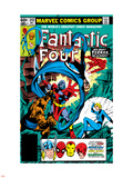 Fantastic Four No.242 Cover: Terrax, Human Torch, Thing, Invisible Woman and Mr. Fantastic Fighting Plastic Sign by John Byrne