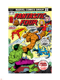 Fantastic Four N166 Cover: Hulk, Thing, Mr. Fantastic, Invisible Woman and Human Torch Fighting Plastic Sign by George Perez