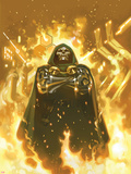 FF No.2 Cover: Dr. Doom Standing in Flames Plastic Sign by Daniel Acuna