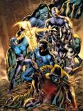 Fantastic Four No.559 Cover: Mr. Fantastic, Lightwave and Natalie X Plastic Sign by Bryan Hitch