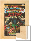 Captain America And The Falcon No.204 Cover: Captain America, Falcon and Agron Fighting Wood Print by Jack Kirby