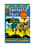 Fantastic Four No.116 Cover: Dr. Doom, Thing, Human Torch and Invisible Woman Crouching Plastic Sign by John Buscema