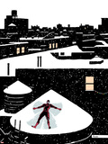 Daredveil No.7 Cover; Daredevil Making a Snow Angel on a Rooftop Plastic Sign by Paolo Rivera