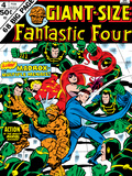 Giant-Size Fantastic Four No.4 Cover: Madrox, Medusa, Mr. Fantastic, Thing and Human Torch Fighting Art by John Buscema