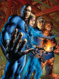 Fantastic Four No.554 Cover: Mr. Fantastic, Invisible Woman, Human Torch and Thing Plastic Sign by Bryan Hitch