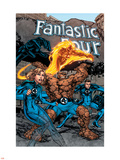 Marvel Adventures Fantastic Four No.1 Cover: Thing, Mr. Fantastic, Human Torch and Invisible Woman Plastic Sign by Carlo Pagulayan