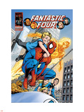 Fantastic Four No.574 Cover: Spider-Man, Franklin Richards and Human Torch Plastic Sign by Alan Davis