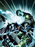 FF No.7 Cover: Black Bolt and Ronan the Accuser Fighting Plastic Sign by Mark Bagley