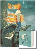 Human Torch No.9 Cover: Human Torch Fighting Prints by Skottie Young