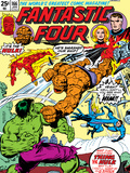 Fantastic Four N166 Cover: Hulk, Thing, Mr. Fantastic, Invisible Woman and Human Torch Fighting Prints by George Perez