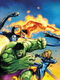 Marvel Adventures Fantastic Four No.47 Cover: Hulk, Invisible Woman, Mr. Fantastic and Human Torch Poster by Jon Buran