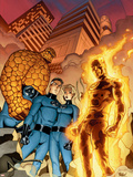 Fantastic Four No.510 Cover: Mr. Fantastic, Invisible Woman, Human Torch, Thing and Fantastic Four Plastic Sign by Mike Wieringo