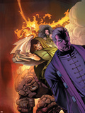Fantastic Four: House Of M No.3 Cover: Dr. Doom, Magneto, Thing and Fearsome Four Plastic Sign by Scot Eaton