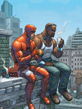 Marvel Team-Up No.9 Cover: Daredevil, Cage and Luke Plastic Sign by Scott Kolins