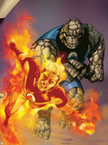 Ultimate Fantastic Four No.41 Cover: Thing and Human Torch Plastic Sign by Salvador Larroca