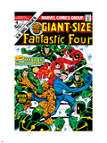Giant-Size Fantastic Four No.4 Cover: Madrox, Medusa, Mr. Fantastic, Thing and Human Torch Fighting Plastic Sign by John Buscema