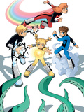 Power Pack No.2 Group: Zero-G, Lightspeed, Mass Master and Energizer Fighting Plastic Sign by  Gurihiru