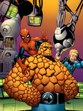 Fantastic Four No.513 Cover: Thing, Spider-Man, and Johnny Storm Plastic Sign by Mike Wieringo