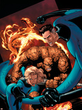 Marvel Knights 4 No.20 Cover: Mr. Fantastic, Invisible Woman, Human Torch, Thing and Fantastic Four Wall Decal by Valentine De Landro