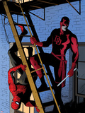 Daredevil No.8 Cover: Daredevil and Spider-Man on the Fire Escape Plastic Sign by Paolo Rivera