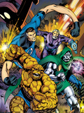 Fantastic Four No.582 Cover: Thing, Mr. Fantastic, and Dr. Doom Running and Charging Art by Alan Davis