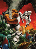 FF No.10 Cover: Invisible Woman, Thing, and Spider-Man Fighting Plastic Sign by Steve Epting