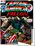 Captain America And The Falcon No.204 Cover: Captain America, Falcon and Agron Fighting Posters by Jack Kirby