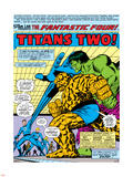 Fantastic Four N167 Cover: Hulk, Thing, Mr. Fantastic, Invisible Woman and Human Torch Stretching Plastic Sign by George Perez