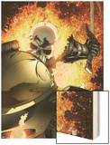 Ghost Rider No.8 Cover: Ghost Rider Flaming Wood Print by Matt Clarke
