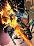 Fantastic Four No.557 Cover: Thing, Human Torch, Mr. Fantastic and Invisible Woman Plastic Sign by Bryan Hitch