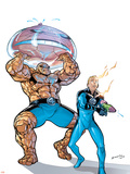 Marvel Adventures Fantastic Four No.39 Cover: Thing and Human Torch Plastic Sign by Salvador Espin
